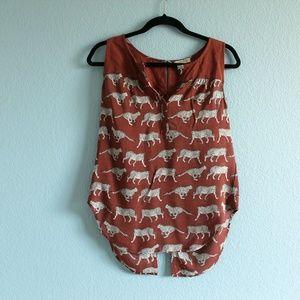 Lucky Brand cheetah print sleeveless top Small
